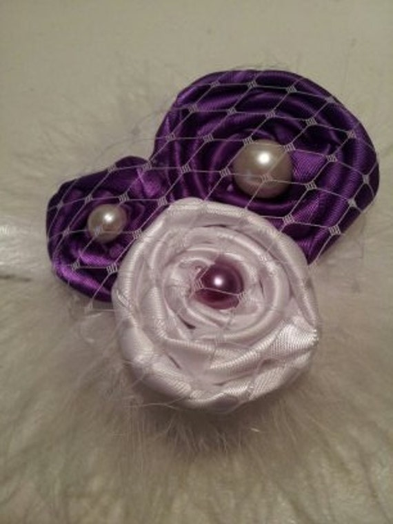 Purple and White Rolled Roses Headband for Babies