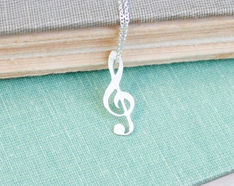 Sterling Music Note Necklace