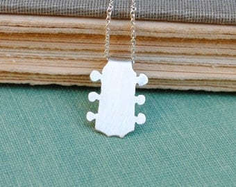 Sterling Acoustic Guitar Head Necklace