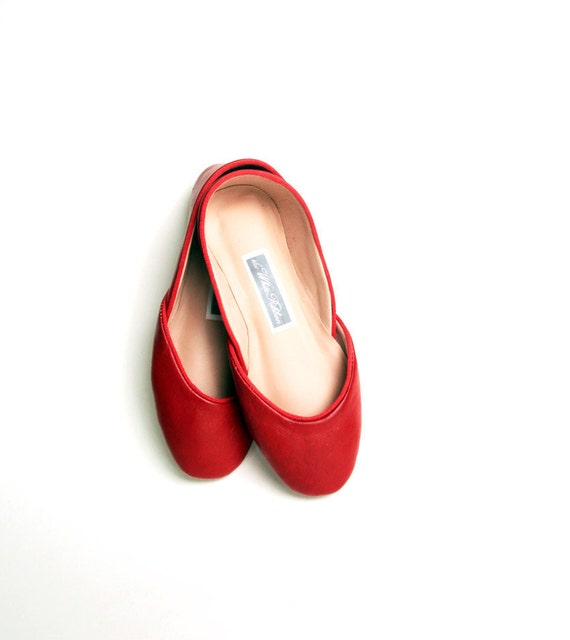 custom listing for Cath....Soft leather ballet flats. Rouge. ready to ship.