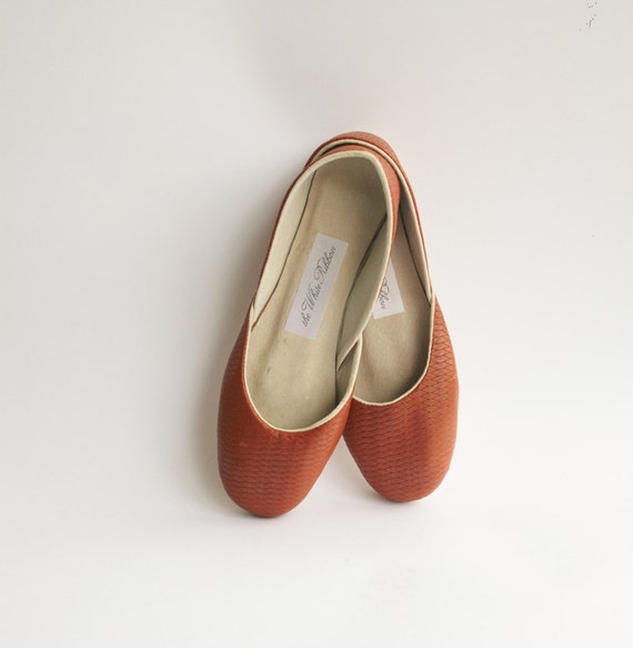 Soft woven leather ballet flats. Sienna.