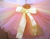 "newborn tutu,pink yellow peach, newborn to 6t custom made ""creamsicle"""
