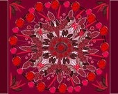 Feather Painting, Native American Wall Art, Large Red Abstract Painting, Ready to Hang Canvas