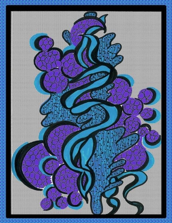 Blue and Purple Wall Art - Blue Pop Wall Art,  swirly abstract art, abstract design, modern wall art, masculine wall art, guy art