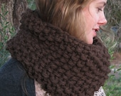 Chocolate Brown Extra Chunky Knit Cowl - mypaperplane
