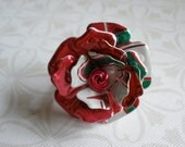 Aluminum Blooms 3D Flower Ring (Strawberry Crush) recycled aluminum can jewelry