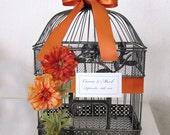 Burnt Orange Zinnas-Black and Gold Vintage Inspired Birdcage-Wedding Card Holder