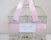 Small Antique White Bird Cage-Wedding card holder