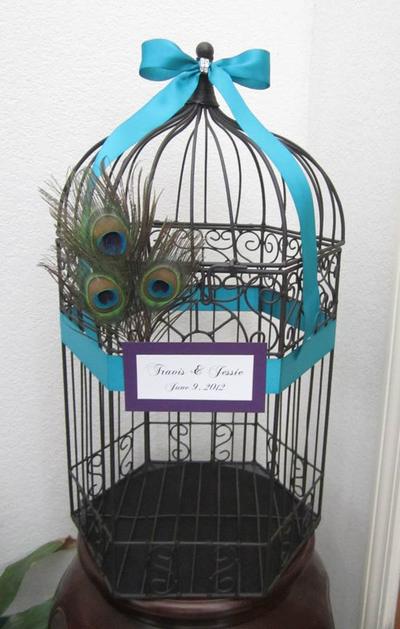 RESERVED- Personalized X- Large Dark Finish Hexagonal Birdcage With Peacock Feathers and Bling-Wedding card holder