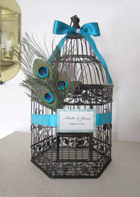 RESERVED- Small Dark Bronze Hexagonal Birdcage with Peacock Feathers -Wedding card holder