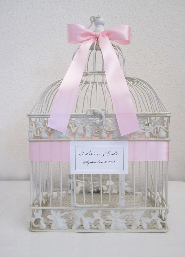 Antique White Bird Cage Wedding Card Holder By Meghanstonedesigns