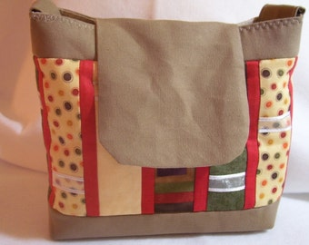 Multi colored panels with ribbon Shoulderbag