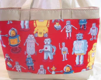 Robots on the go Tote Bag