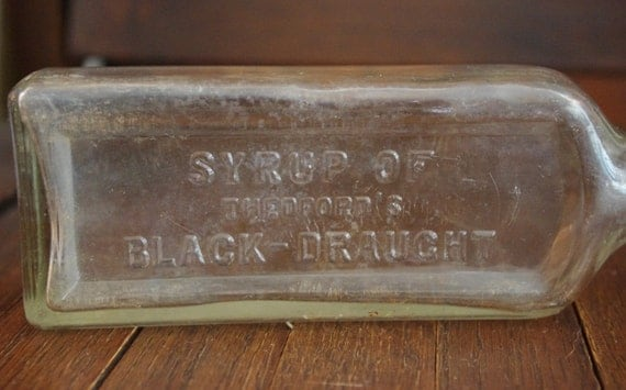 Vintage Glass Syrup Of Thedford S Black Draught Bottle