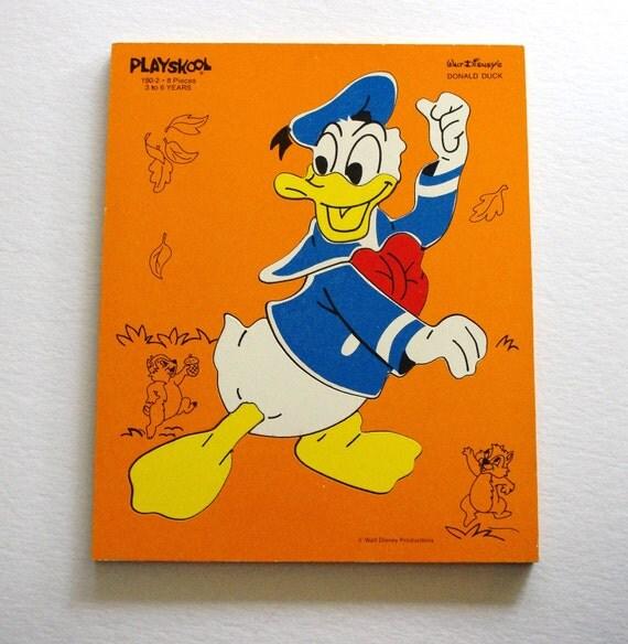 "Vintage Playskool ""Donald Duck"" Wood Puzzle"