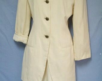 Vintage 1980s Creamy Off-White Silk Suit, Anne Klein II, Designer, Size 6