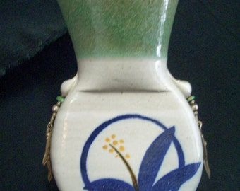Clay Pottery Vase, Southwest, Sterling Silver and Turquoise, Signed