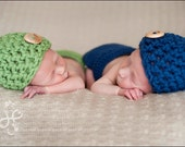 Twin Set in Green and Blue with Matching Diaper Cover Available in Newborn to 12 Months- MADE TO ORDER