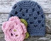 The Sofia Flower Beanie in Denim, Baby Pink and Celery Green Available in Newborn to Tween Size- MADE TO ORDER