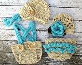 Vintage Twin Photography Prop Set in Wheat, Aqua and Taupe Available in 4 Sizes- MADE TO ORDER
