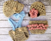 Vintage Twin Photography Prop Set in Oatmeal, Blue, Pink and Taupe Available in 3 Sizes- MADE TO ORDER