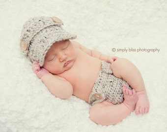 The Oliver Newsboy Cap in Oatmeal with Matching Diaper Cover Available in Newborn to 24 Months Size- MADE TO ORDER