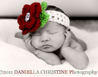 The Ava Flower Headband in Cranberry Red, Grass Green and Ecru Available in Newborn to 4T Free Shipping in North America- MADE TO ORDER