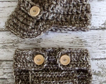 The Oliver Newsboy Cap in Taupe Mist with Matching Diaper Cover Available in Newborn to 24 Months Size- MADE TO ORDER