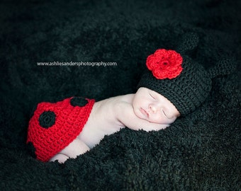 Little Miss Ladybug Beanie and Tushy Topper Available in 0-3 Months Size- READY TO SHIP