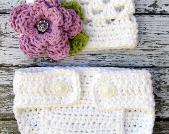The Sofia Flower Beanie in White, Violet, and Celery with Matching Diaper Cover Available in Newborn to 24 Months Size- MADE TO ORDER