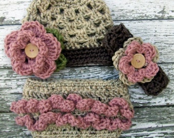 The Sophia Beanie, Headband & Diaper Cover Set in Oatmeal, Dusty Pink and Taupe Available in Newborn to 24 Months