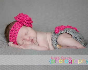 The Bella Headband and Matching Diaper Cover in Gray and Hot Pink Available in Newborn to 24 Months Size- MADE TO ORDER