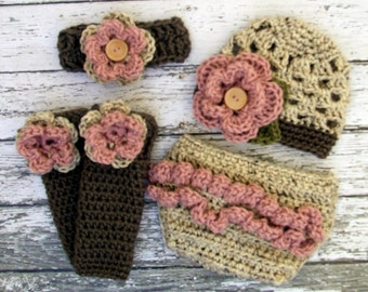 The Sophia Beanie, Headband, Leg Warmers & Diaper Cover Set in Oatmeal, Dusty Pink and Taupe in Newborn to 24 Months- MADE TO ORDER