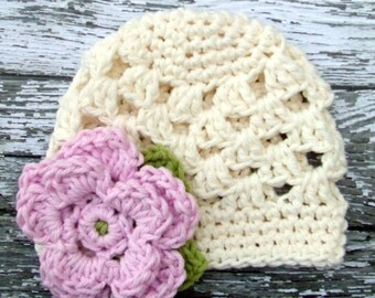 The Sofia Flower Beanie in Baby Pink, Ecru and Celery Green Available in Newborn to Tween Size- MADE TO ORDER