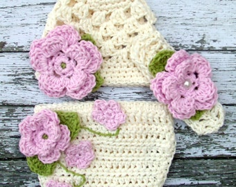 The Sofia Flower Beanie in Baby Pink, Ecru and Celery Green with Matching Diaper Cover and Headband Available in Four Sizes- MADE TO ORDER