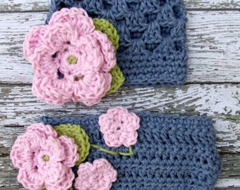 The Sofia Flower Beanie in Baby Pink, Denim and Green with Matching Diaper Cover Available in Newborn to 24 Months Size- MADE TO ORDER
