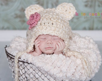 Little Miss Fuzzy Bear Beanie in Ecru and Dusty Pink Available in Newborn to 1 Year- MADE TO ORDER
