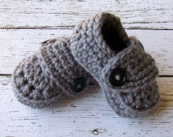 Baby Booties Button Loafers/Baby Shoes/Soft Shoes/ Shoes in Gray Available in 0 to 24 Months Size- MADE TO ORDER