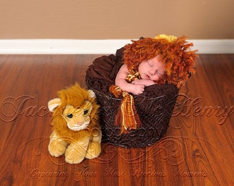 Mr. Lion Bonnet in Yellow and Wild Fire Newborn Size- MADE TO ORDER