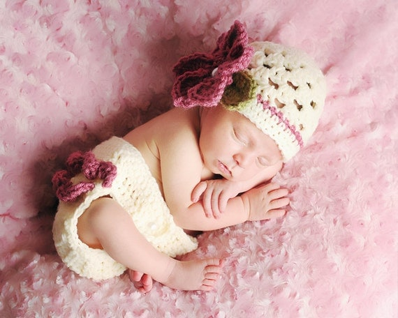 The Sophia Beanie, Headband & Diaper Cover Set in Pink Rose, Olive Green and Ecru Available in Newborn to 24 Months- MADE TO ORDER