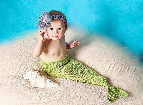 Mermaid Tail and Headband Set Available in Newborn to 12 Months Free Shipping in the U.S.- MADE TO ORDER