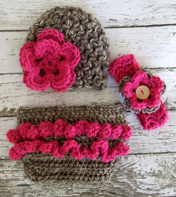 The Emma Beanie in Taupe Mist and Raspberry with Matching Diaper Cover and Headband Available in Newborn to 12 Months- MADE TO ORDER