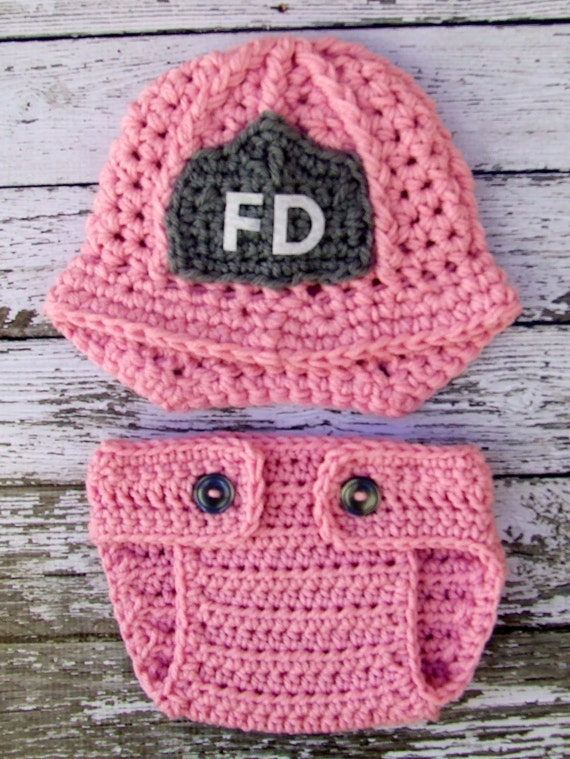 Firefighter Helmet in Pink, Gray and White with Matching Diaper Cover Available in Newborn to 12 Months Size- MADE TO ORDER