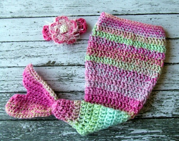 Mermaid Tail and Headband Set Available in Newborn to 12 Months Free Shipping In North America- MADE TO ORDER