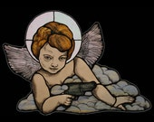 Taurus Judge Angel in Stained Glass