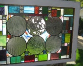 Circle This... stained glass panel in vintage Chicago Bungalow Window Frame