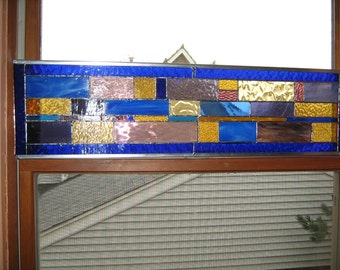 Stained Glass Royal Blue Transom with Gold and Purple