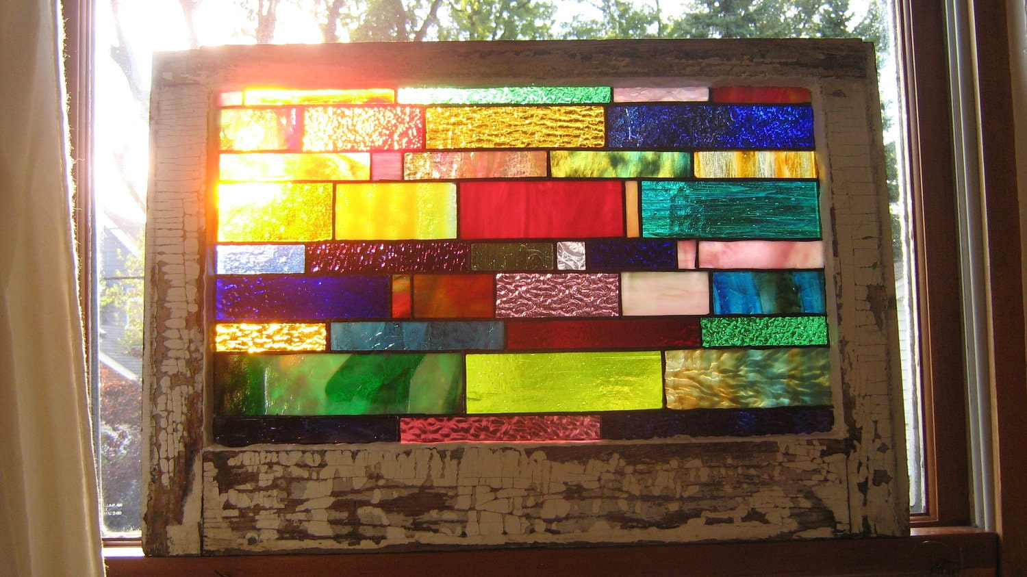 vintage window frame with stained glass by stanfordglassshop