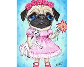 ACEO 3.5 X 2.5 cute DoG PUG PENELoPE PRINT Collectible