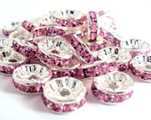 Basketball Wives, Pink Rhinestone Spacer Beads, 10mm, 50 pieces
